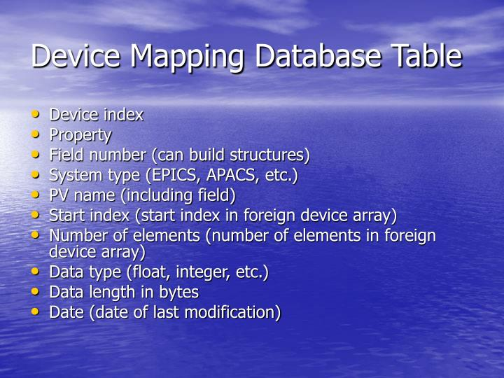 Device Mapping Database Table