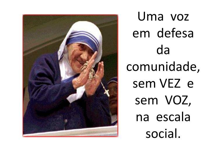 Uma  voz  em  defesa  da  comunidade,  sem VEZ  e  sem  VOZ,  na  escala  social.
