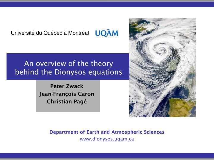 an overview of the theory behind the dionysos equations n.