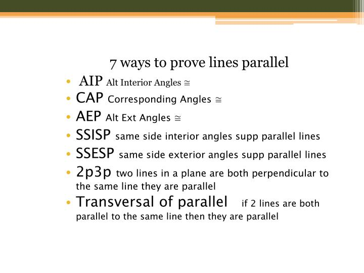 7 ways to prove lines parallel