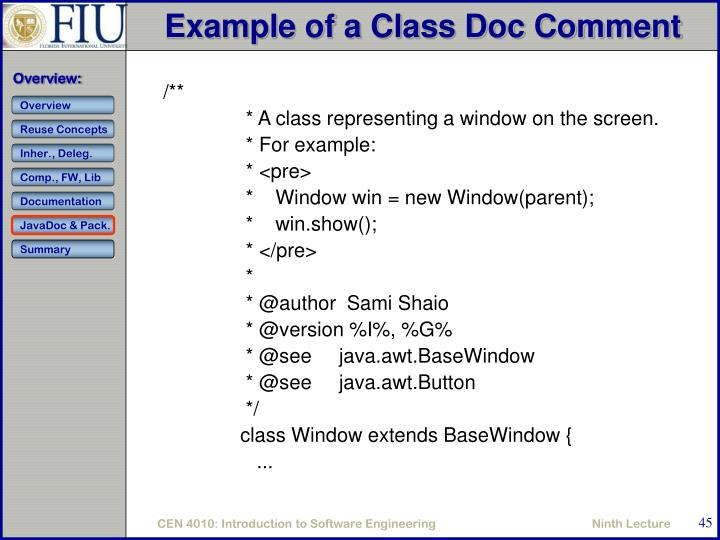 Example of a Class Doc Comment