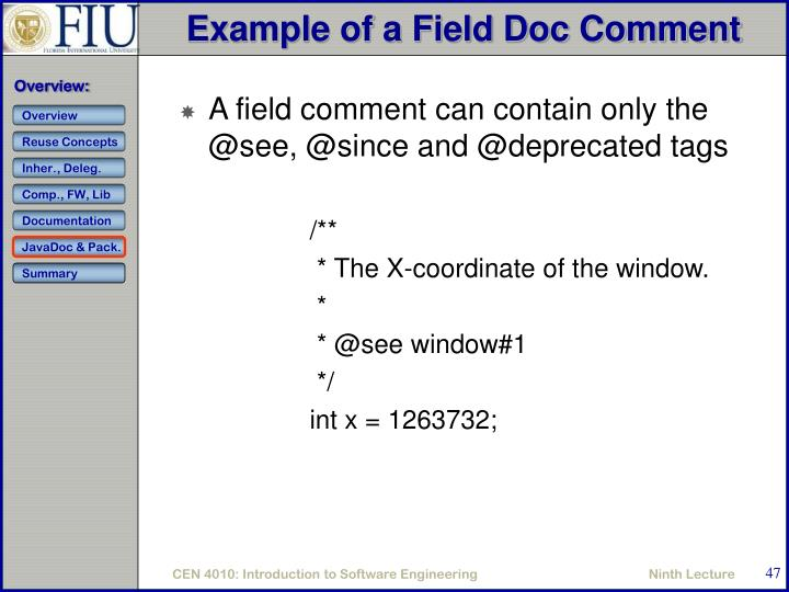 Example of a Field Doc Comment