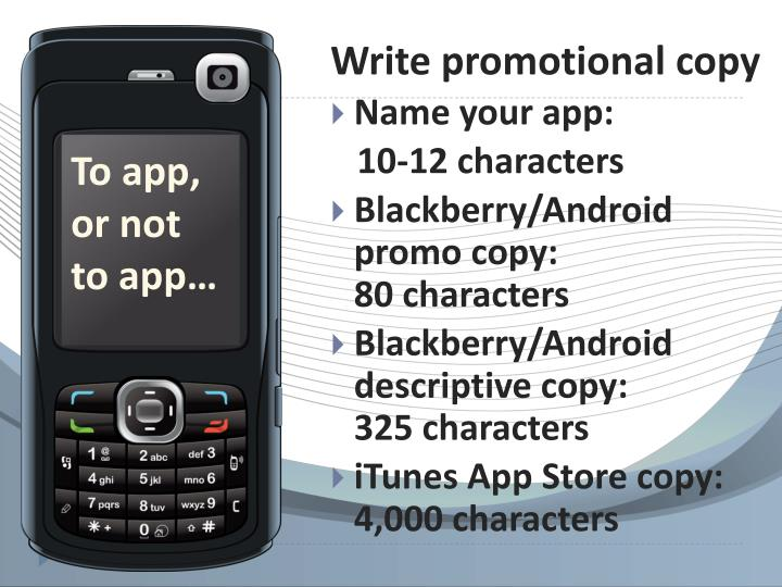 Write promotional copy