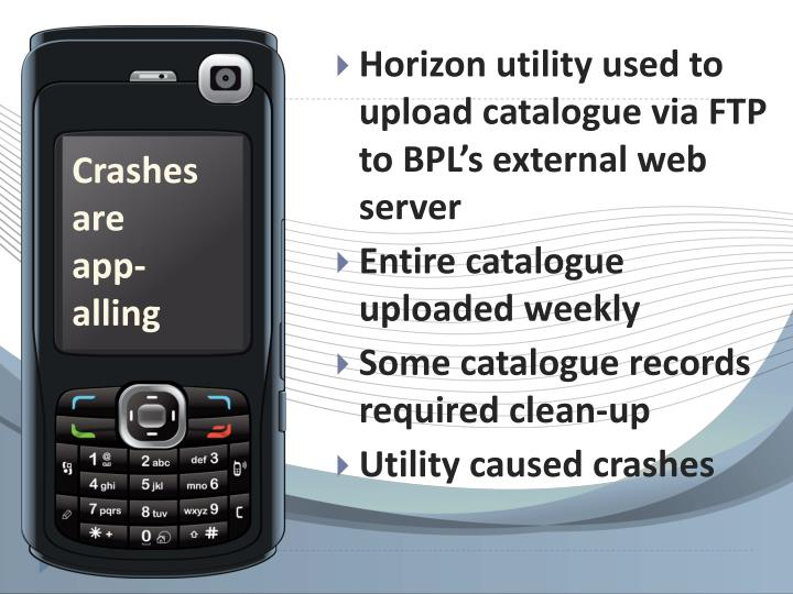 Horizon utility used to upload catalogue via FTP to BPL's external web server
