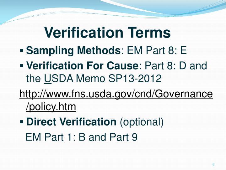 Verification Terms