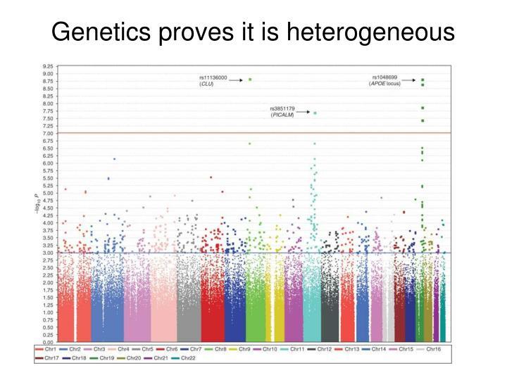 Genetics proves it is heterogeneous