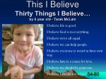 this i believe thirty things i believe by 6 year old tarak mclain