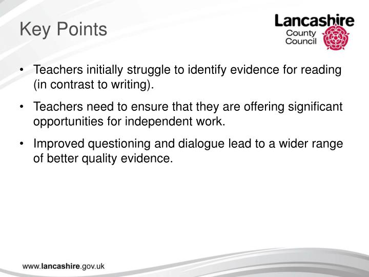 Teachers initially struggle to identify evidence for reading (in contrast to writing).