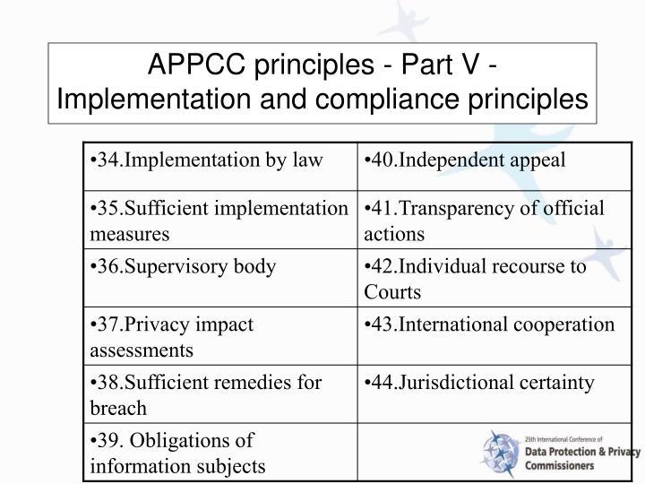APPCC principles - Part V - Implementation and compliance principles