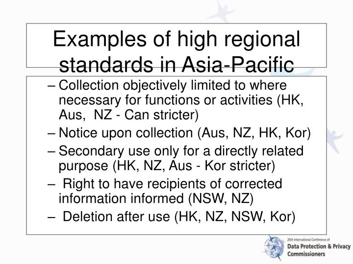 Collection objectively limited to where necessary for functions or activities (HK, Aus,  NZ - Can stricter)