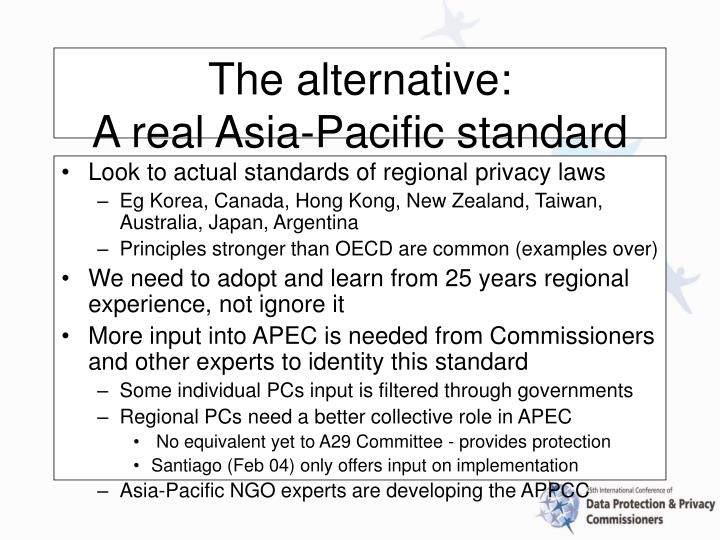 Look to actual standards of regional privacy laws