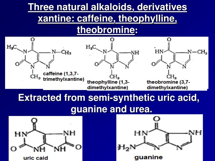 Three natural alkaloids, derivatives xantine: caffeine, theophylline, theobromine