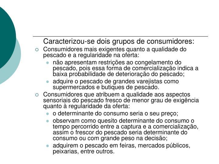 Caracterizou-se dois grupos de consumidores: