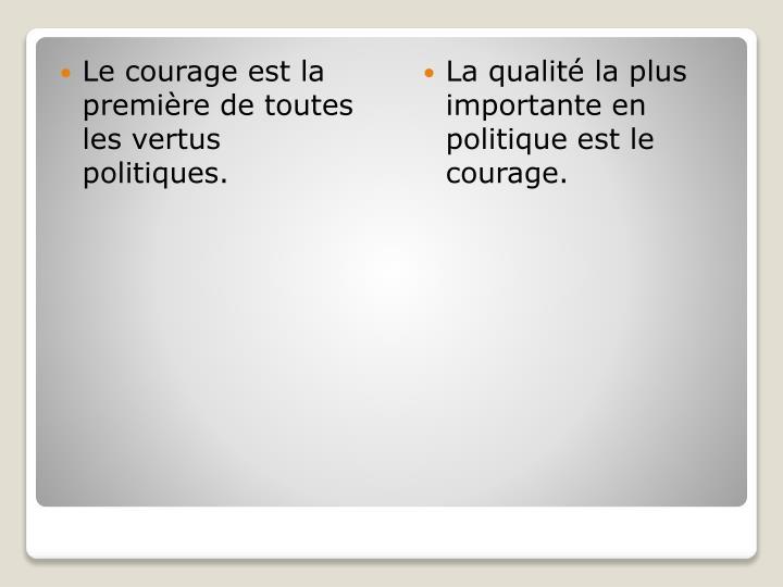 Le courage est la première de toutes les vertus politiques.