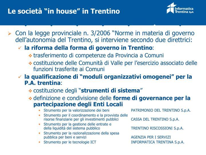 "Le società ""in house"" in Trentino"