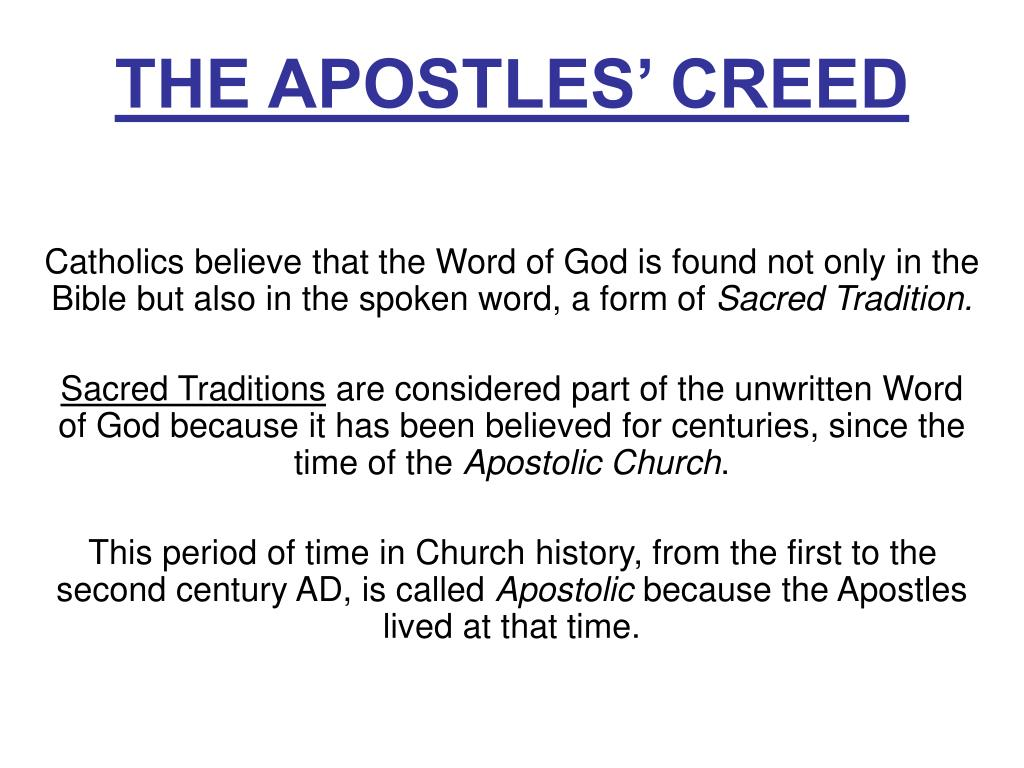 Apostle creed catholic the What are