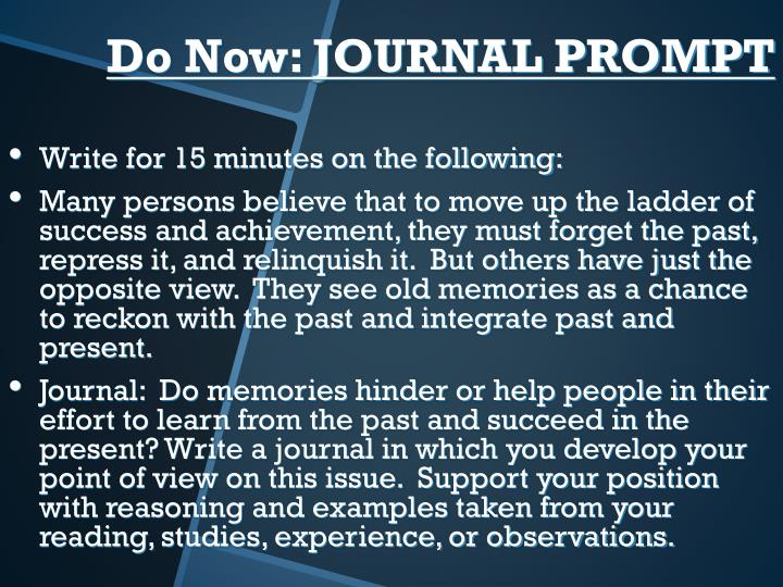 Write for 15 minutes on the following: