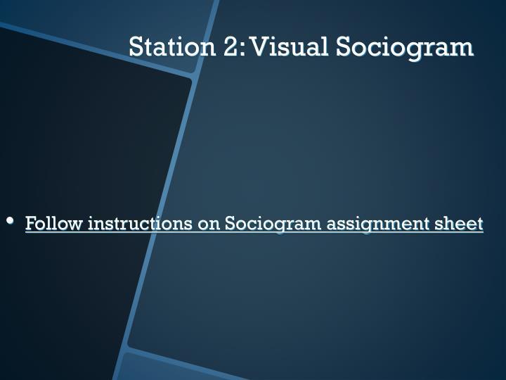 Follow instructions on Sociogram assignment sheet