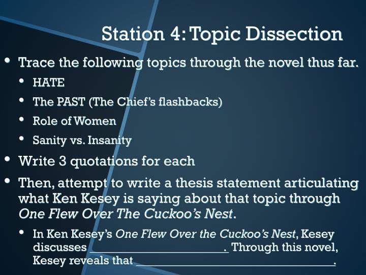 Trace the following topics through the novel thus far.