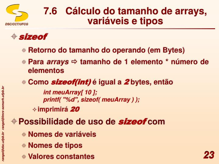 7.6Cálculo do tamanho de arrays, variáveis e tipos
