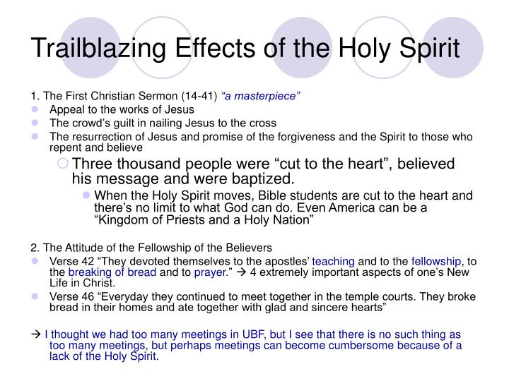 Trailblazing Effects of the Holy Spirit