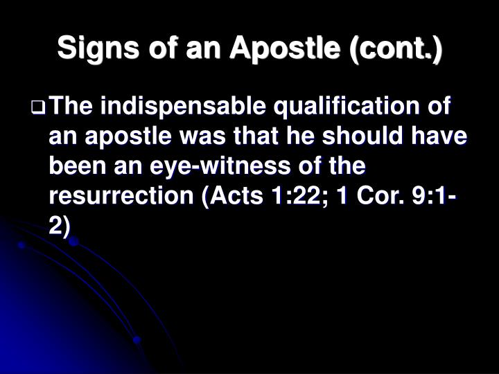 Signs of an Apostle (cont.)