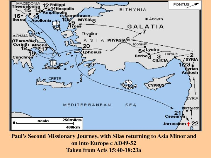 Paul's Second Missionary Journey, with Silas returning to Asia Minor and on into Europe c AD49-52