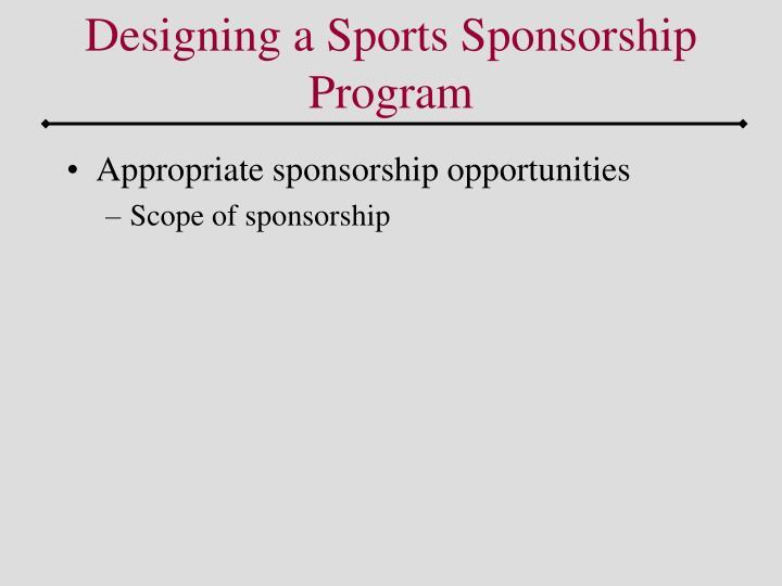 Designing a Sports Sponsorship Program