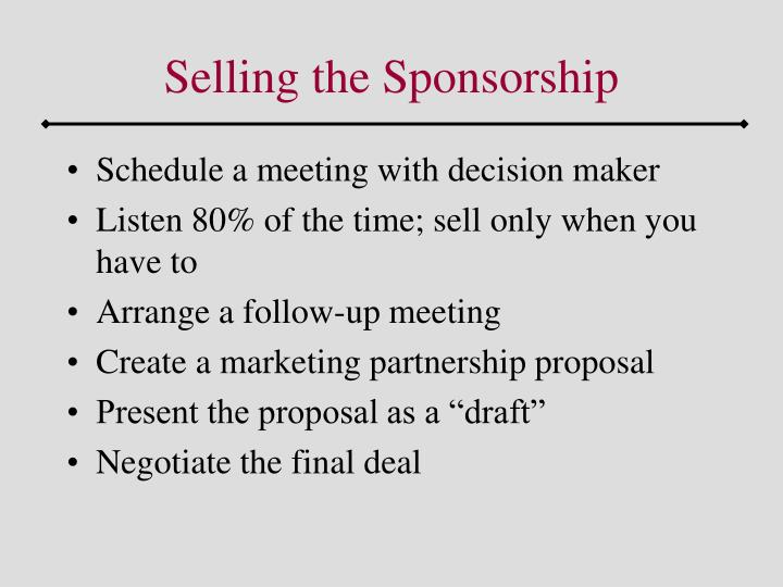Selling the Sponsorship