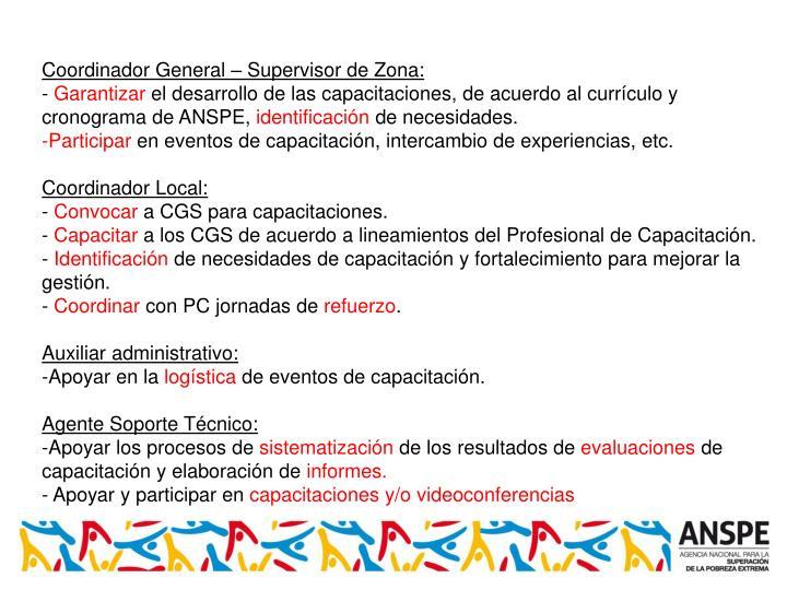 Coordinador General – Supervisor de Zona: