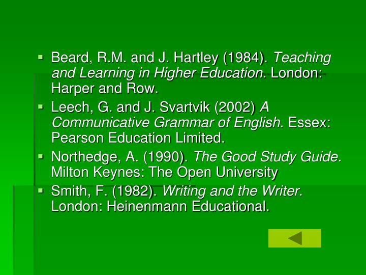 Beard, R.M. and J. Hartley (1984).