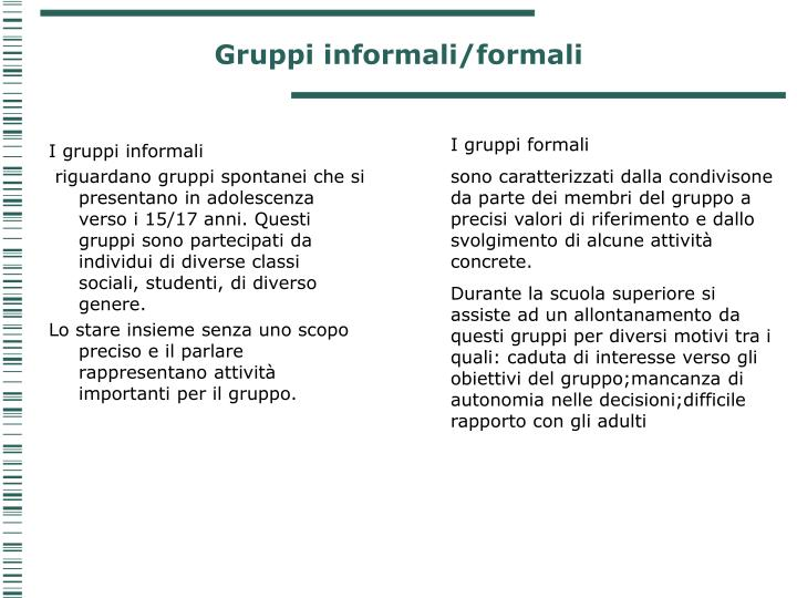 Gruppi informali/formali
