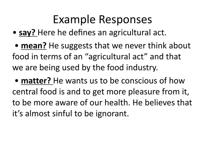 Example Responses