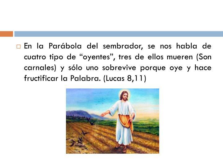 """En la Parábola del sembrador, se nos habla de cuatro tipo de """"oyentes"""", tres de ellos mueren (Son carnales) y sólo uno sobrevive porque oye y hace fructificar la Palabra. (Lucas 8,11)"""