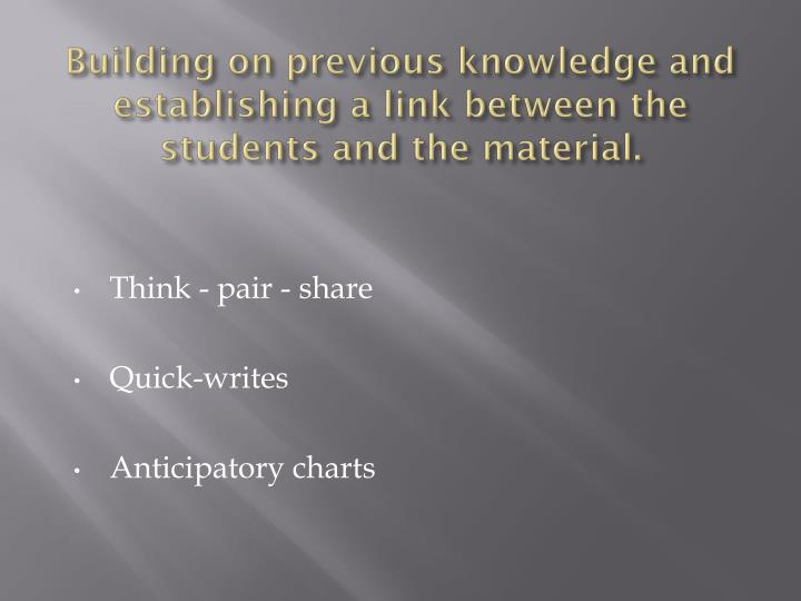 Building on previous knowledge and establishing a link between the students and the material.