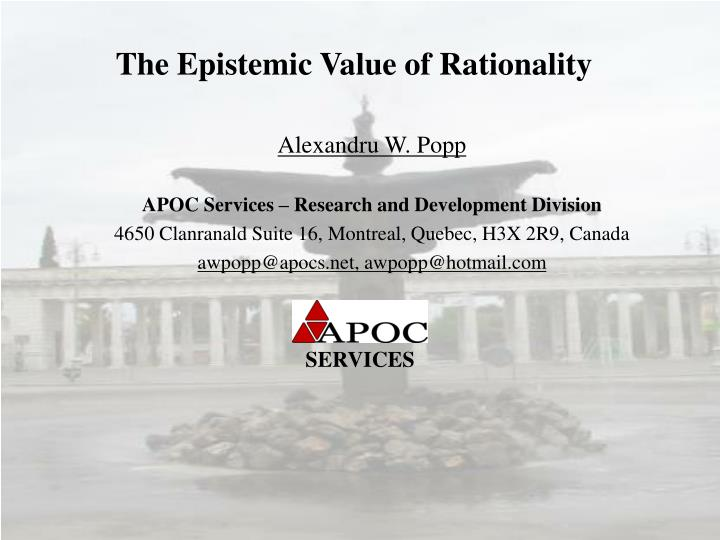 the epistemic value of rationality