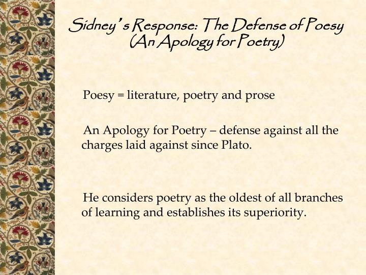 the defense of poesy