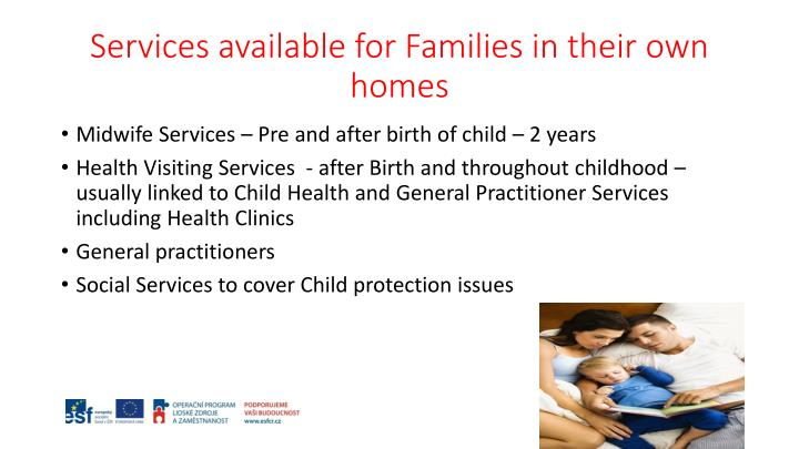 Services available for Families in their own homes