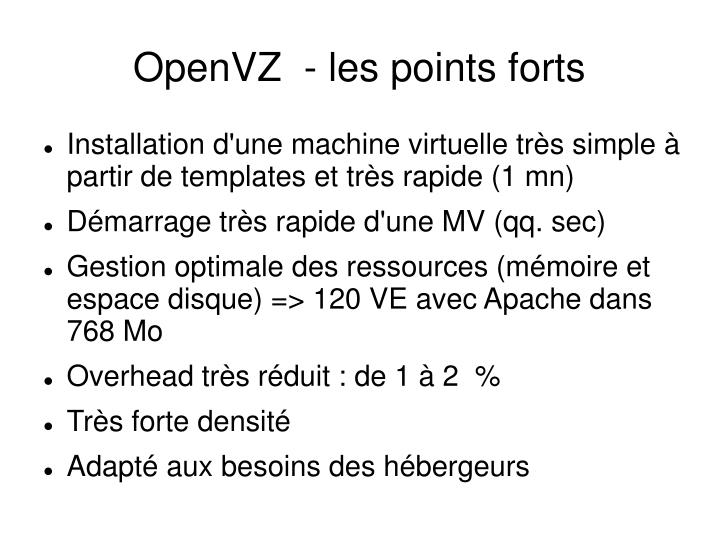 OpenVZ  - les points forts
