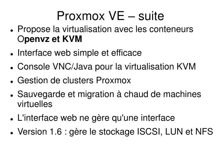 Proxmox VE – suite