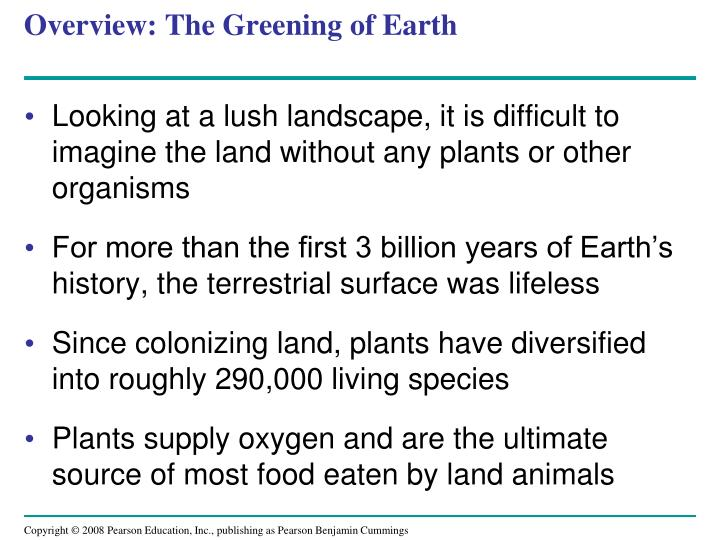Overview the greening of earth