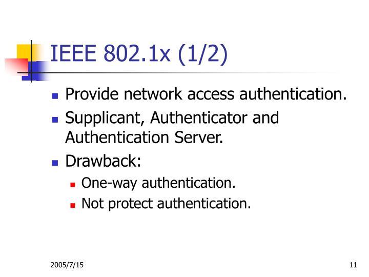 IEEE 802.1x (1/2)