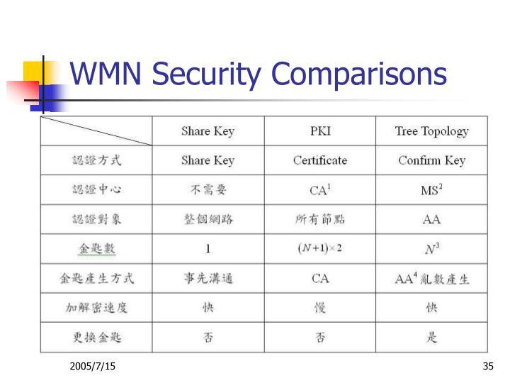 WMN Security Comparisons