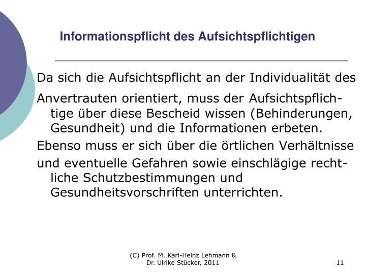 Informationspflicht des Aufsichtspflichtigen