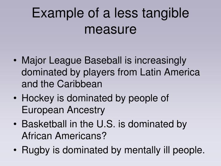 Example of a less tangible measure