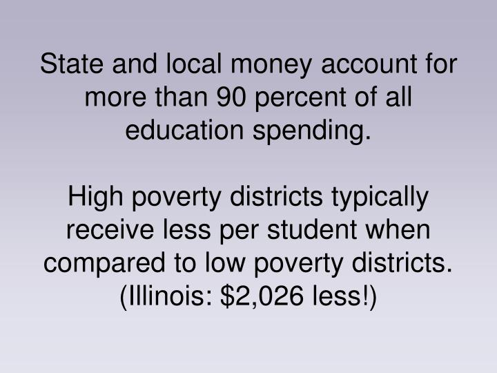 State and local money account for more than 90 percent of all education spending.
