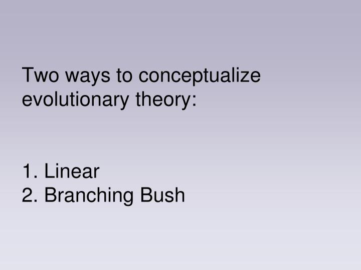 Two ways to conceptualize evolutionary theory: