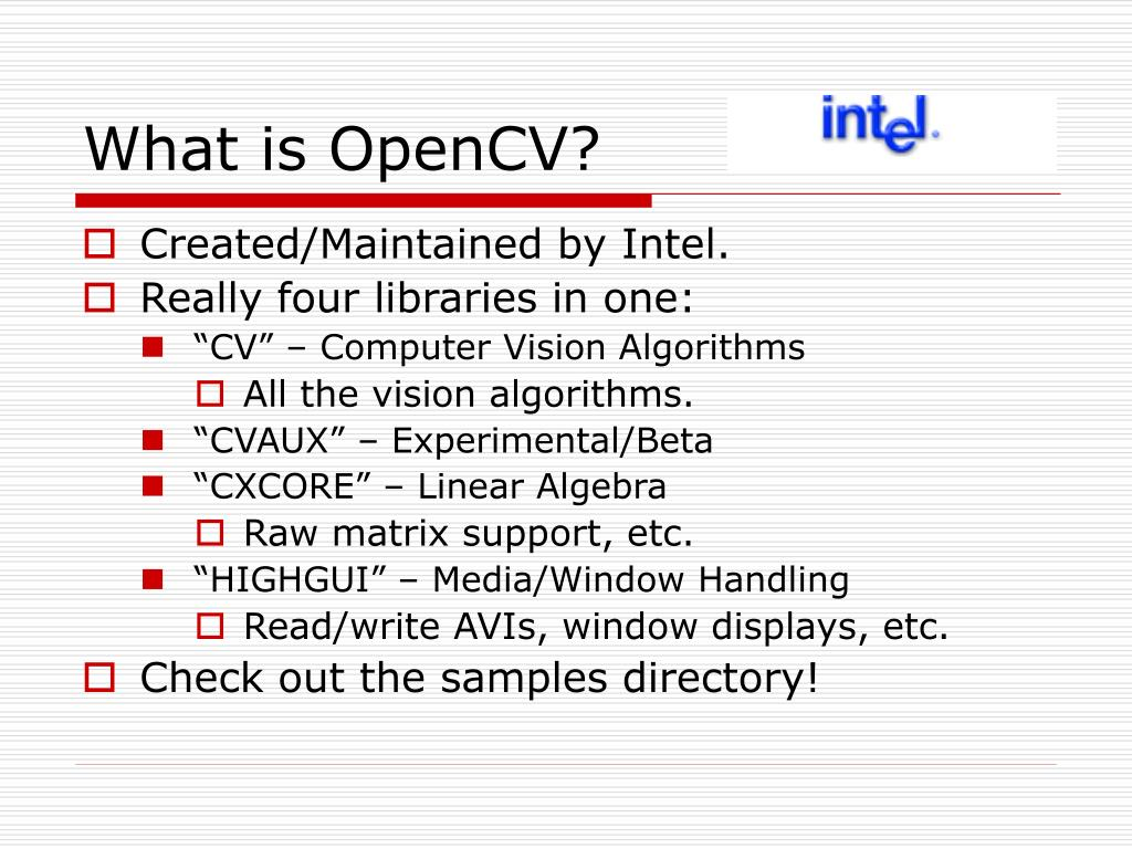 PPT - Introduction to OpenCV PowerPoint Presentation - ID:5424310