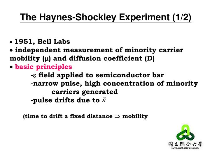 The Haynes-Shockley Experiment (1/2)