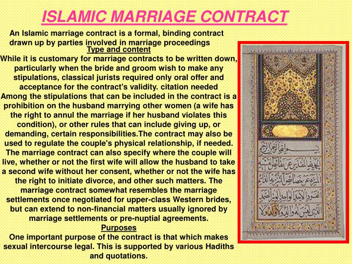 ISLAMIC MARRIAGE CONTRACT